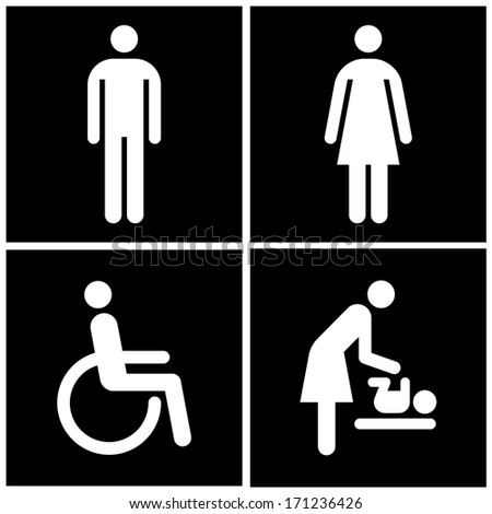 Toilet Sign - Restroom, Mother room and Disabled sign  - stock vector