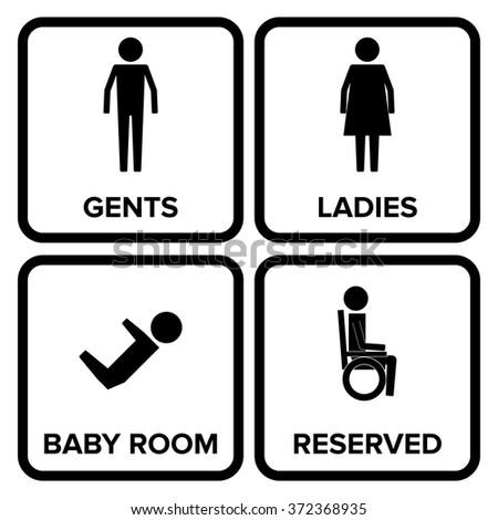 Toilet Sign With Background Man Women Baby Changing Handicap Symbol Pictogram