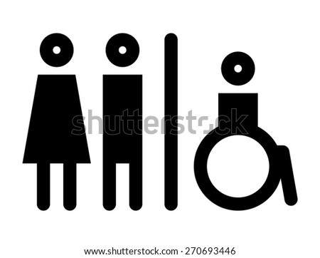 Toilet, wc, restroom sign isolated on white background - stock vector