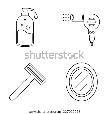 Toiletries outlines vector icons - stock vector