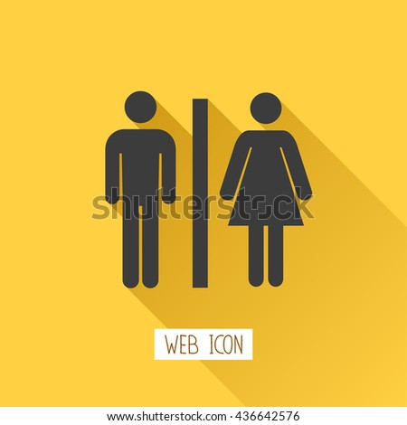 Toilets vector icon. Style is flat rounded symbol, black color, rounded angles, background. - stock vector