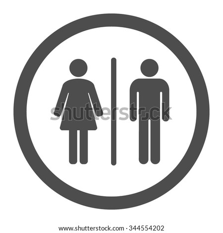 Toilets vector icon. Style is flat rounded symbol, gray color, rounded angles, white background.