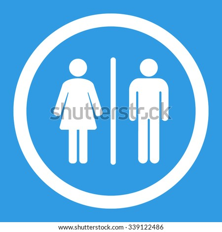 Toilets vector icon. Style is flat rounded symbol, white color, rounded angles, blue background.