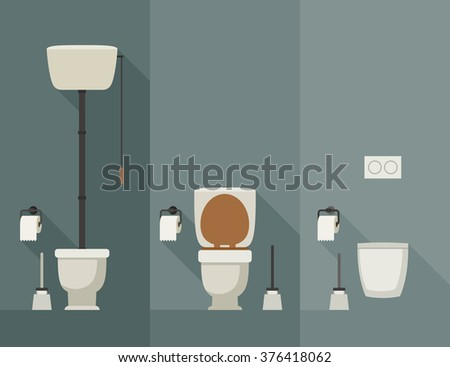 Toilets with long shadow in flat style. Vector simple illustration of toilets with toilet paper and brush. - stock vector