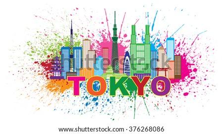 Tokyo Japan City Skyline Panorama Paint Splash Splatter Silhouette Color Vector Illustration - stock vector