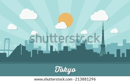 Tokyo skyline - flat design - vector illustration - stock vector