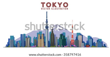 Tokyo skyline. Vector illustration. City landscape on a background of mountains - stock vector