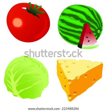tomato,cabbage stalk,Piece of cheese,watermelon One red ripe tomato on white background - stock vector