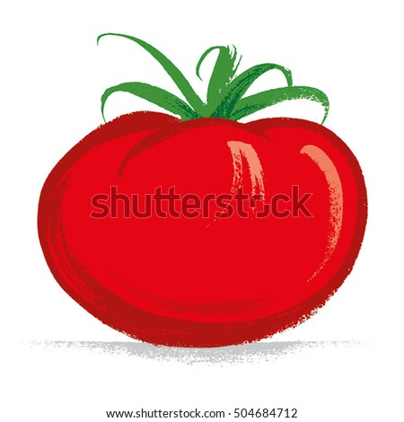 Tomato Hand drawn with brush & ink, vector illustration, fully adjustable & scalable.