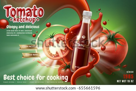 tomato ketchup ad with tomato sauce flow effect, green background 3d illustration