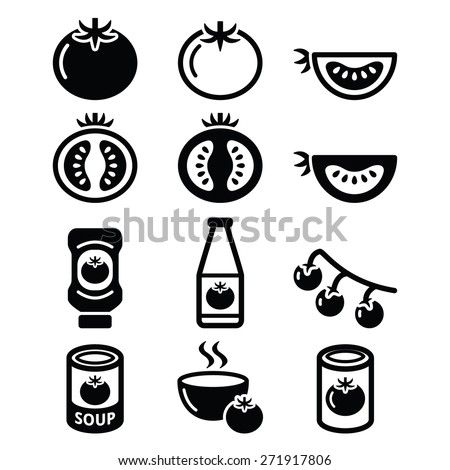 Tomato, ketchup, tomato soup icons set  - stock vector