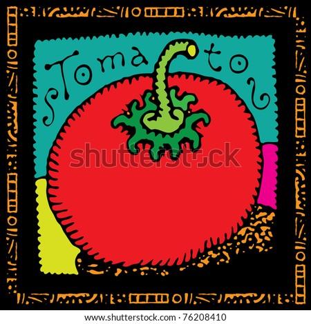 tomato label illustration - stock vector