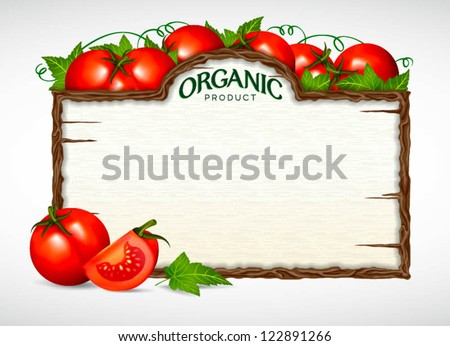 tomato menu board - stock vector