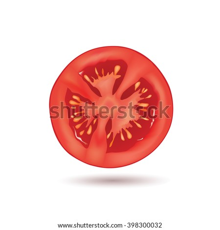Sliced Tomato Isolated Over White Background Stock Vector ...