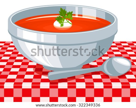 Tomato soup, vector illustration. - stock vector