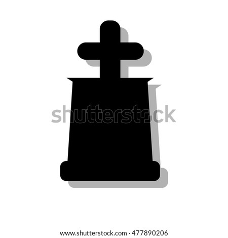 Tomb stone with cross icon in single color.