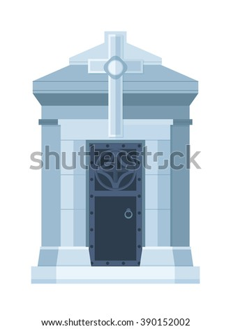 Tombstone crypt vector construction isolated on white background. Traditional tomb stone grave for dead people. Some tomb crypt graveyard memorial symbol. - stock vector