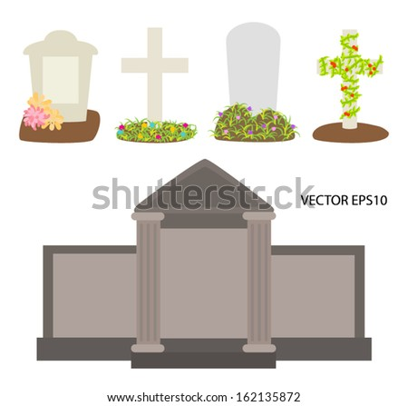 Tombstones and crosses with flowers vector - stock vector