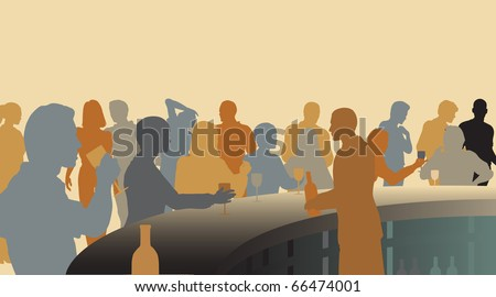 Toned editable vector silhouettes of people in a wine bar - stock vector