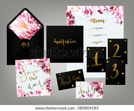 Tony spring inspired wedding invitation suite stock vector 380804185 tony spring inspired wedding invitation suite vector template pink and white variegated peony floral textured stopboris Images