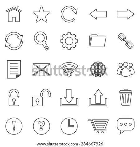 Tool bar line icons on white background, stock vector
