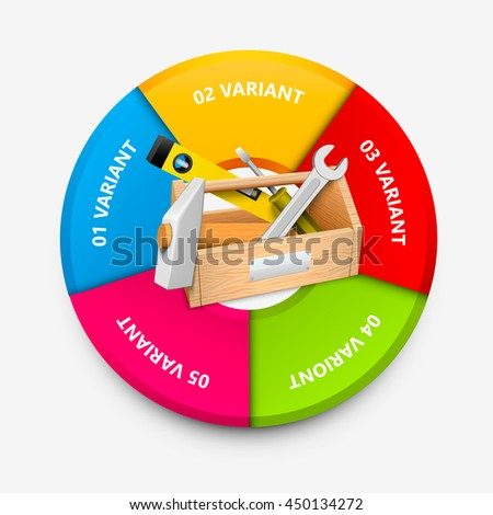 Tool box colorful circle infographics. Tool box icon 3d. Vector infographic illustration - stock vector