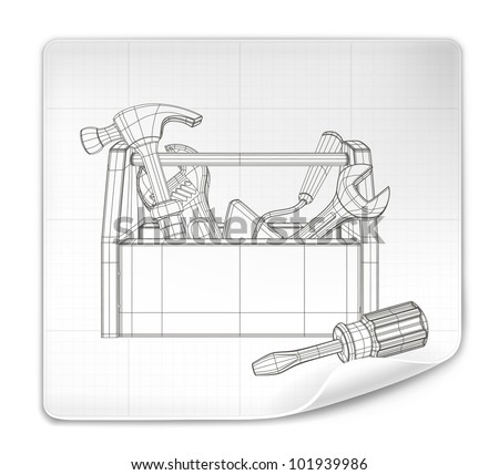 Tool box drawing, vector - stock vector