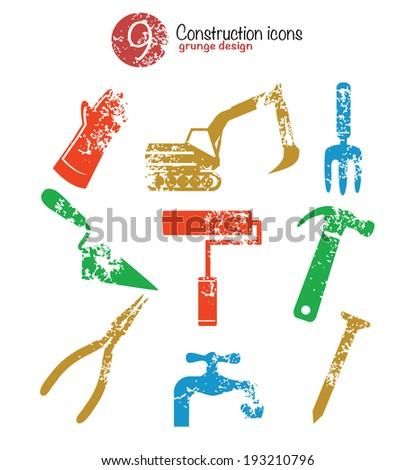 Tool icon set,colorful version,grunge vector - stock vector