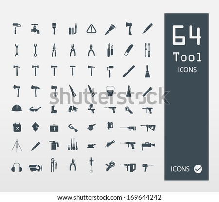 Tool icon set ( Set of 64 Quality icons )  - stock vector