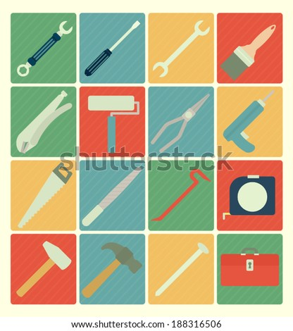 Tool icons set - stock vector