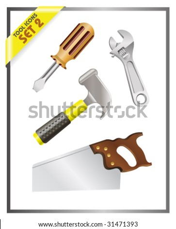 Tool Icons - Set 2 - Vector Illustrations - stock vector
