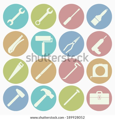 tool icons set with color background