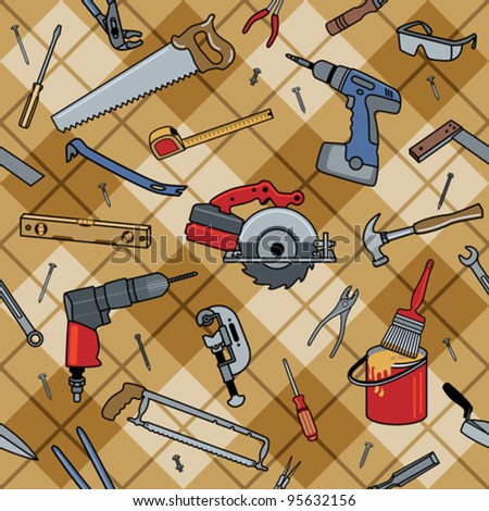 Tool Plaid Home construction tools on a seamless plaid pattern. - stock vector