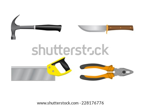tool set on a white background - stock vector