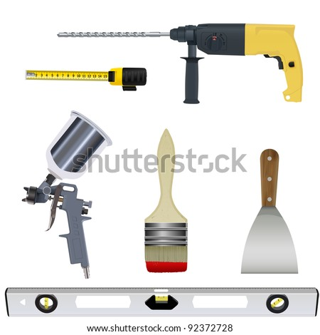 tool set vector isolated on a white background