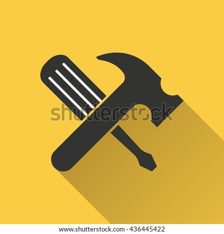 Tool vector icon with long shadow. Illustration isolated on yellow background for graphic and web design. - stock vector