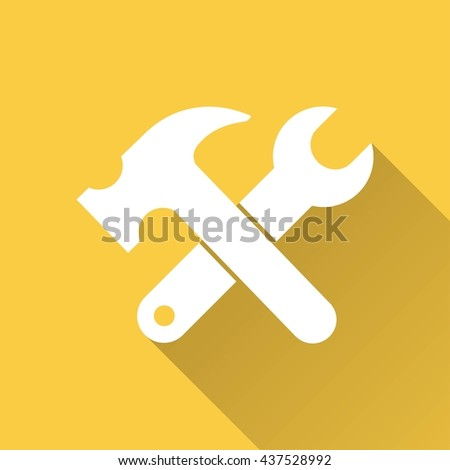 Tool vector icon with long shadow. White illustration isolated on yellow background for graphic and web design. - stock vector
