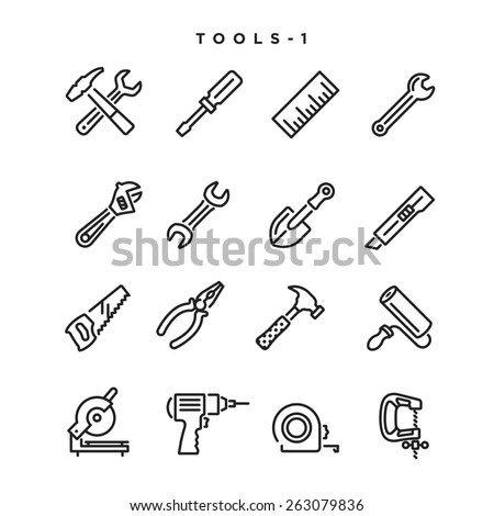 Tool vector icons. Elements for print, mobile and web applications. - stock vector