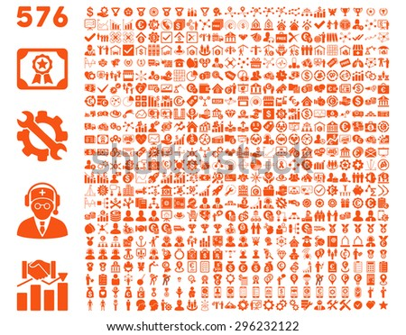 Toolbar Icon Set. 576 flat icons use orange color. Vector images are isolated on a white background. - stock vector