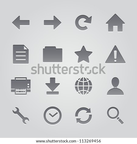 toolbar icons : deboss style - stock vector