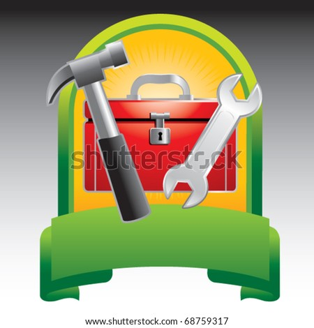 toolbox green display - stock vector