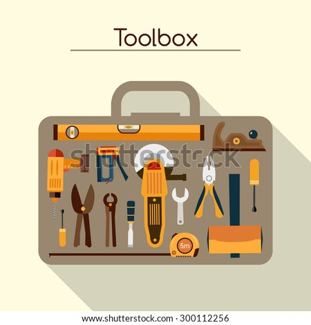 Toolbox of workman concept with hand and power tools vector illustration - stock vector
