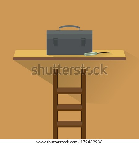 Toolbox on shelves - stock vector