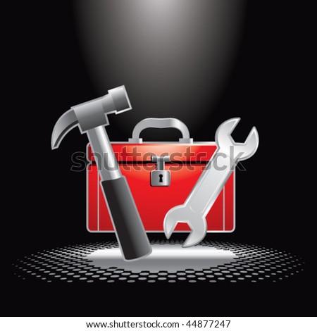 toolbox under spotlight - stock vector
