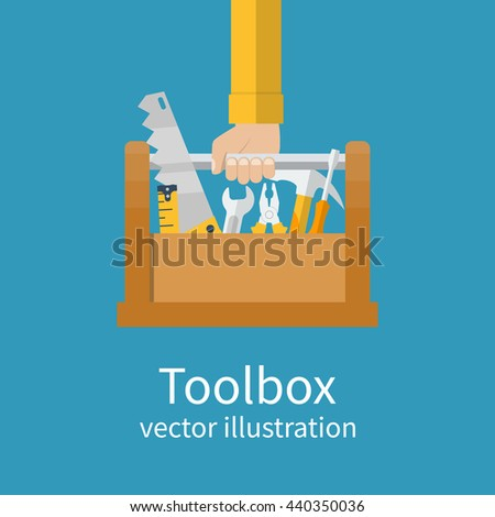 Toolbox with tools in hands of builder. Saw, wrench, screwdriver, hammer, tape measure, pliers. Vector illustration flat design. Hand tools for repair and restoration - stock vector