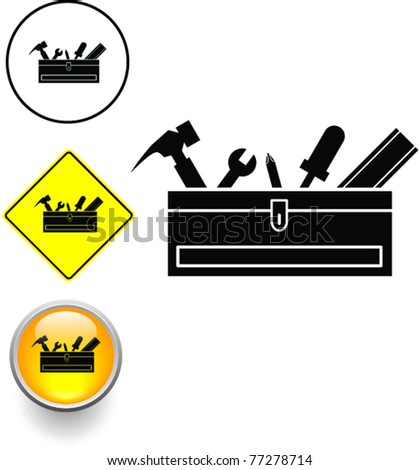 toolbox with tools symbol sign and button - stock vector