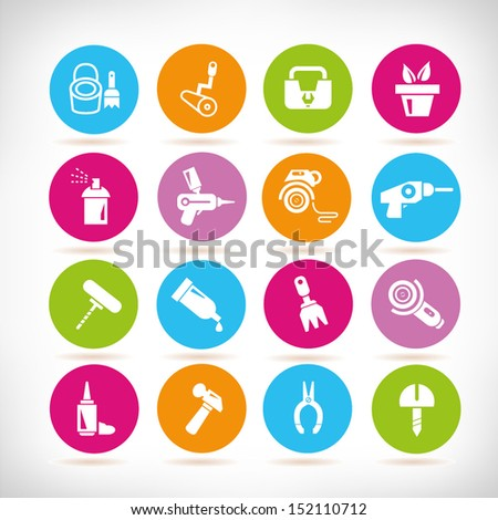 tools and household icons, round button set - stock vector