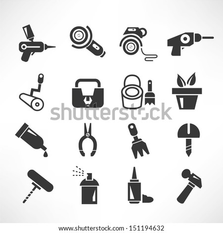 tools and household tools icons - stock vector