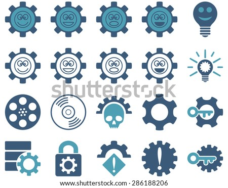Tools and Smile Gears Icons. Vector set style: bicolor flat images, cyan and blue colors, isolated on a white background.