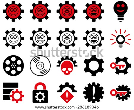Tools and Smile Gears Icons. Vector set style: bicolor flat images, intensive red and black colors, isolated on a white background.